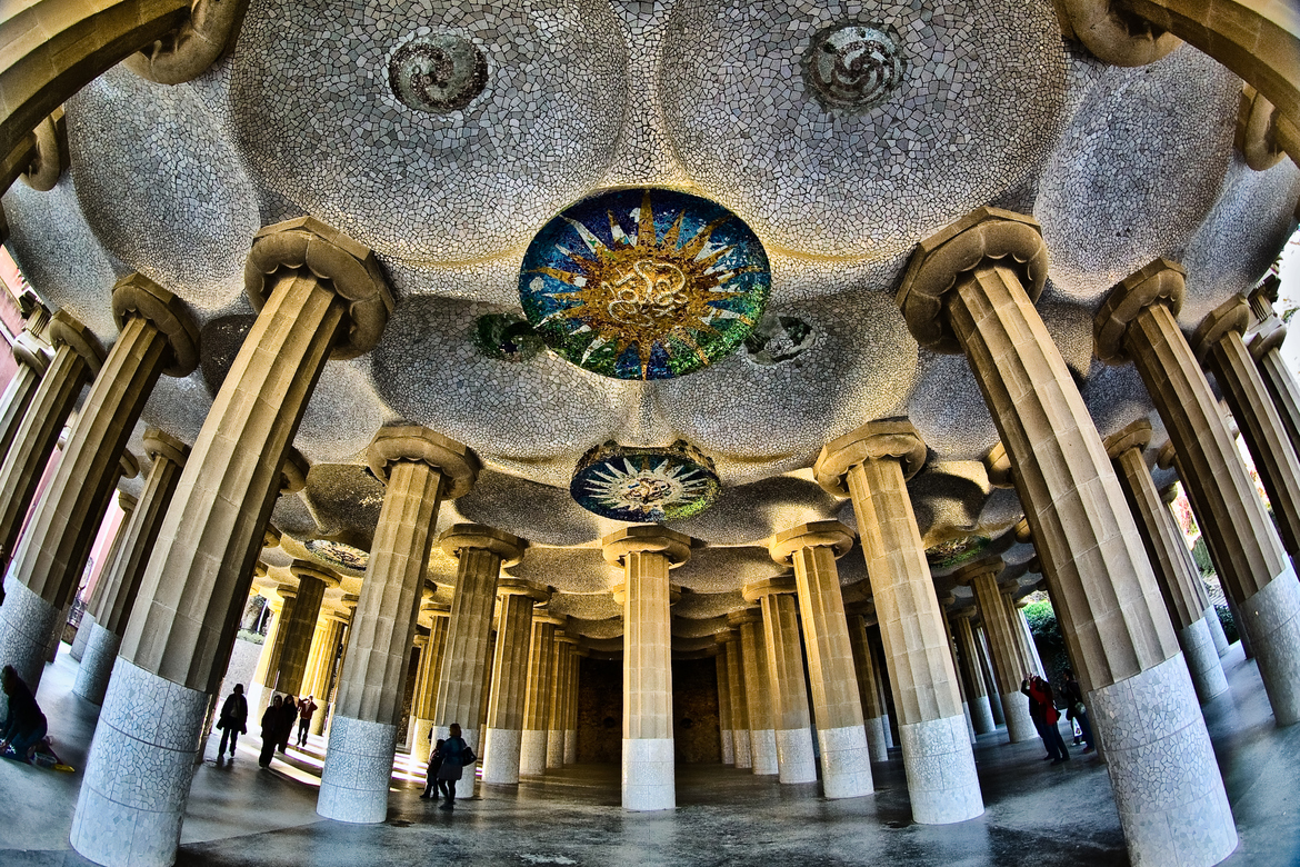 Top 6 Parks in Barcelona - Beautiful Pillars and Mosaic Ceiling in Park Güell